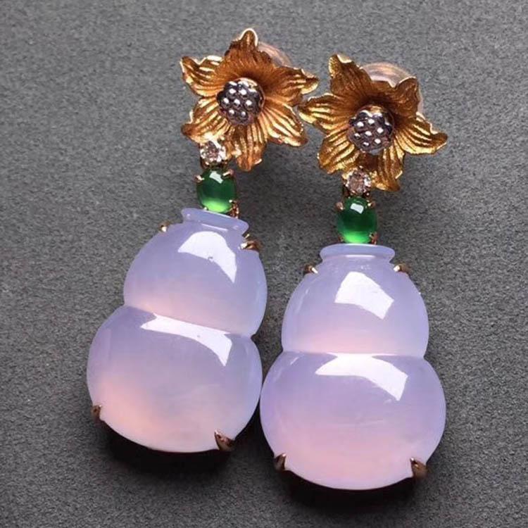 糯种紫罗兰葫芦翡翠耳钉第2张