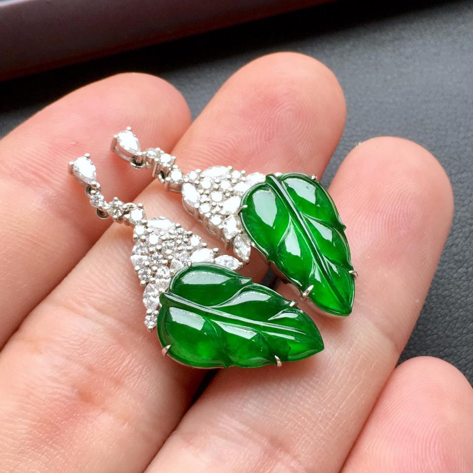 冰种阳绿金枝玉叶翡翠耳钉一对 镶白金钻石第5张