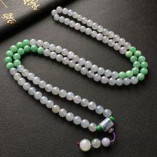 糯冰种淡紫罗兰/豆色圆珠翡翠项链