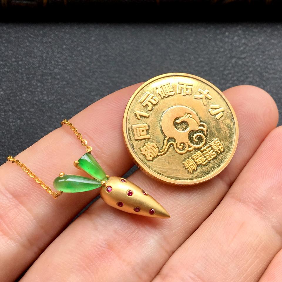 冰种飘翠胡萝卜锁骨翡翠项链 镶18k金红宝石第8张