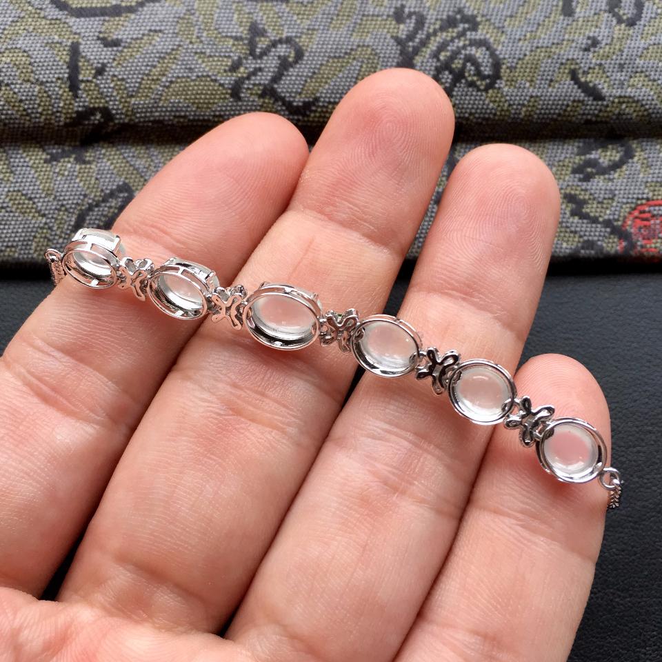 冰种白色翡翠手链镶白金钻石第7张