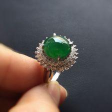 阳绿冰种翡翠戒指 镶白金钻石