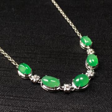 糯冰种阳绿蛋面翡翠手链 镶白18k金钻石