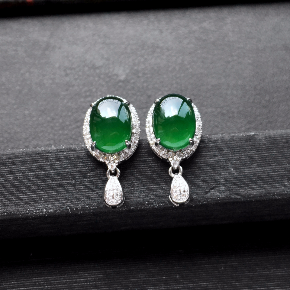深绿冰种翡翠耳钉一对 镶白金钻石第2张