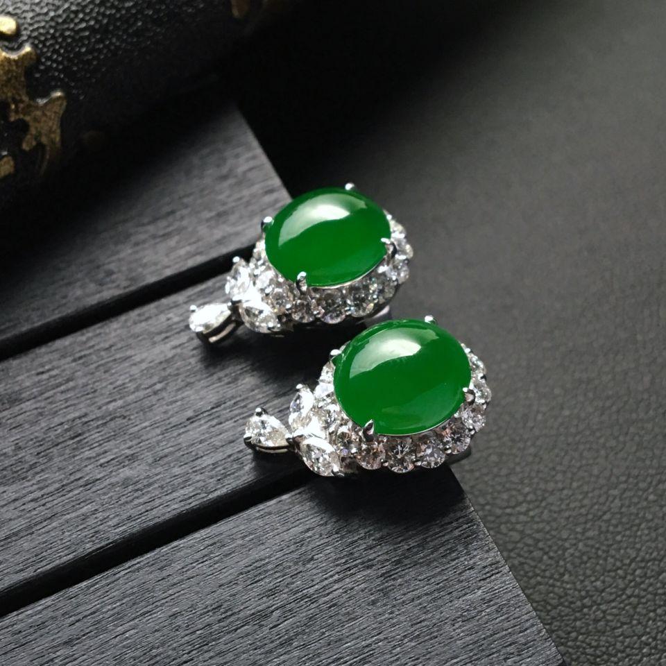 糯冰种阳绿翡翠耳钉镶白金钻石第1张