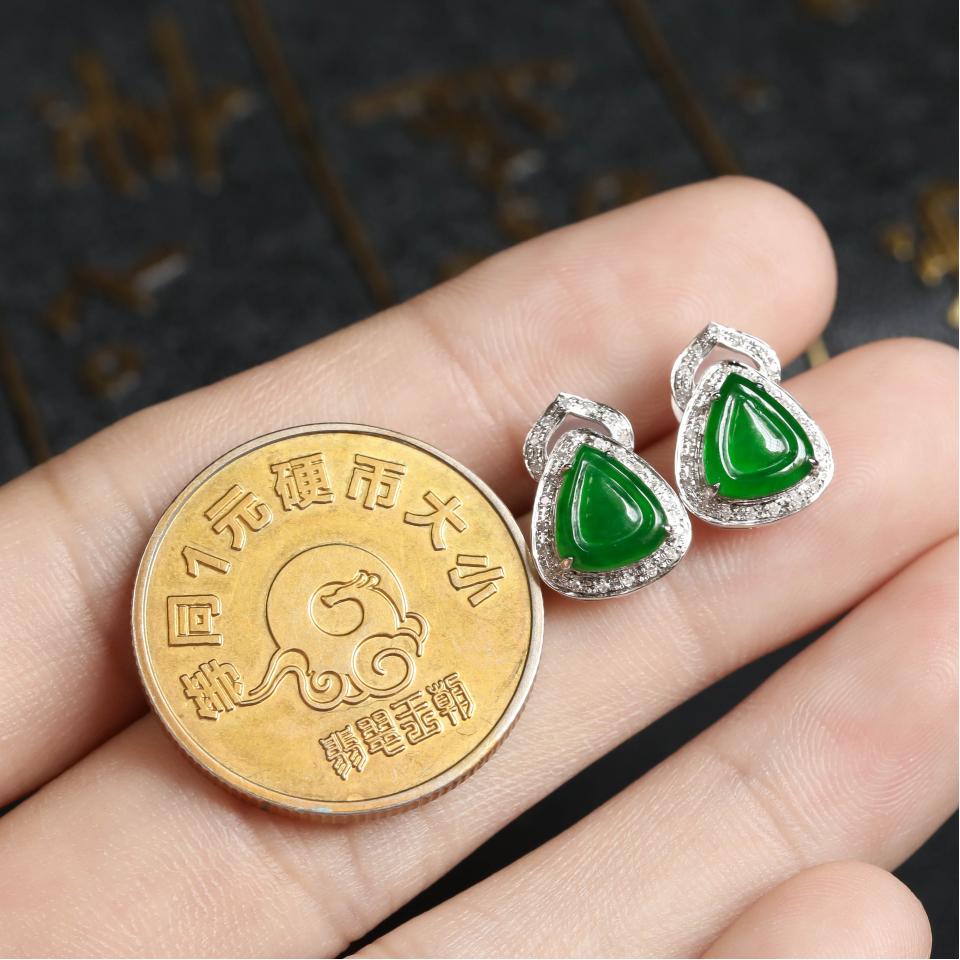 阳绿冰种翡翠耳钉 镶白18K金钻石第6张