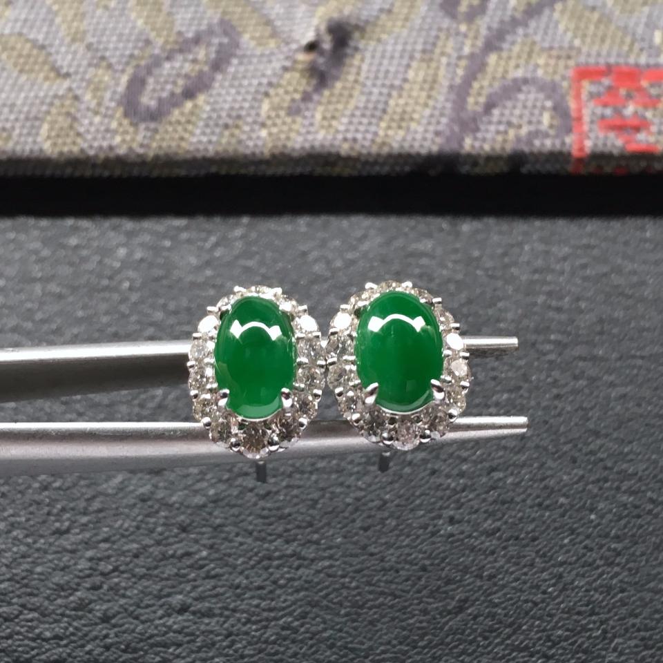 糯冰种深绿翡翠耳钉一对 镶白金钻石第3张