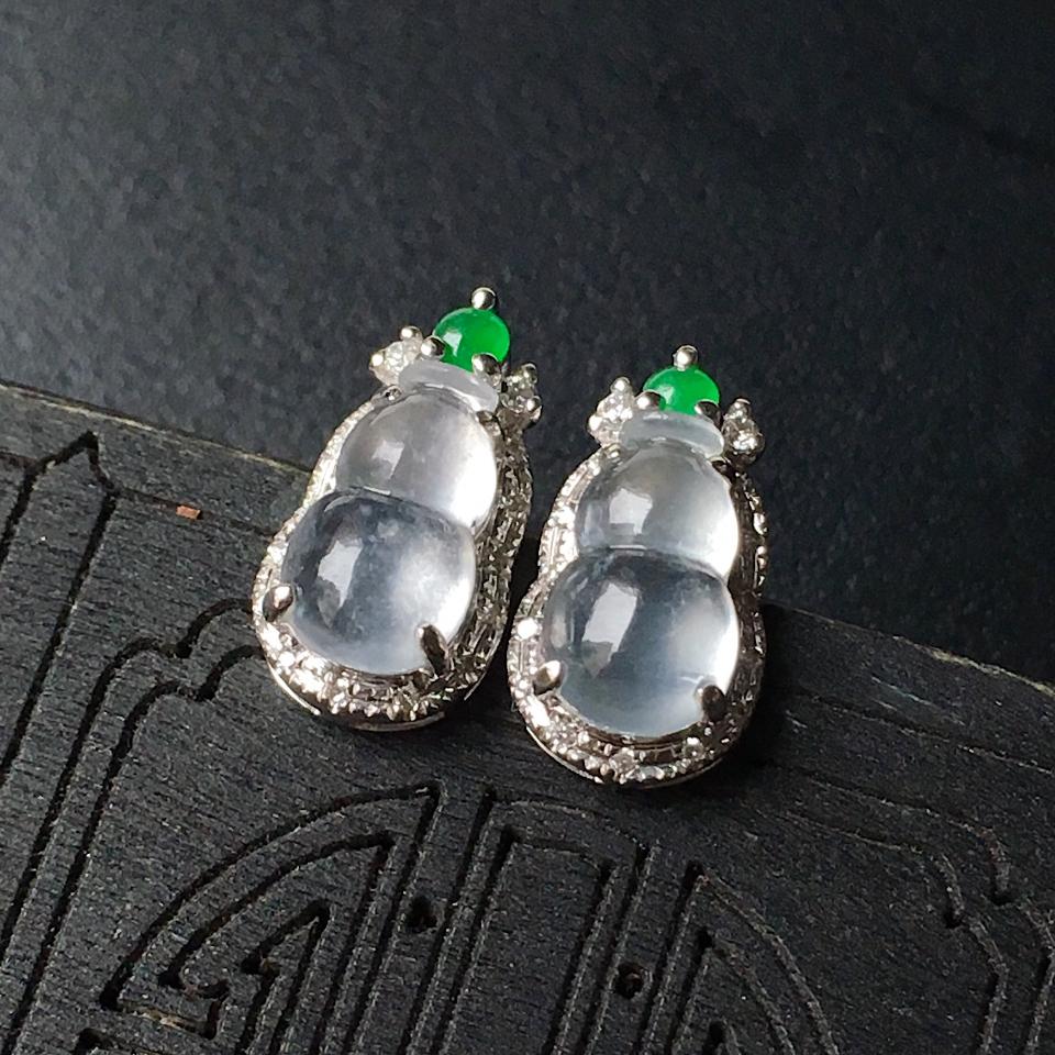 冰种葫芦翡翠耳钉镶白18K金钻石第3张