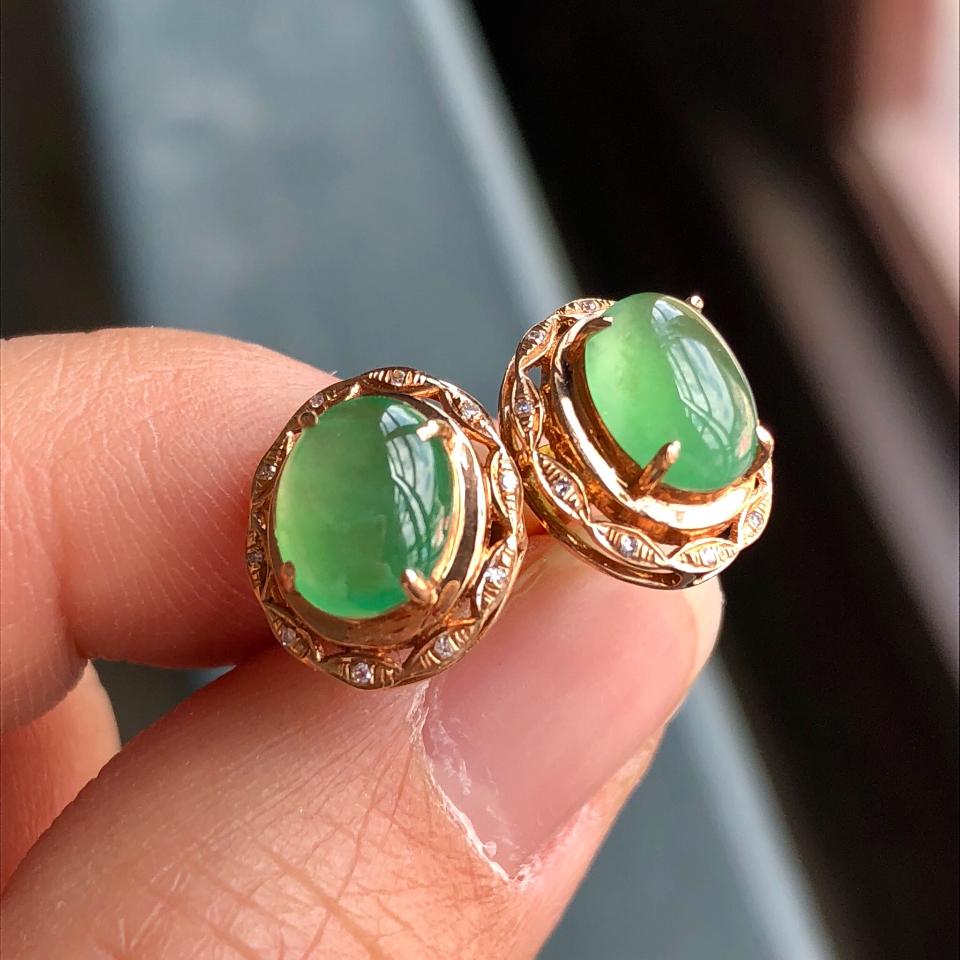 冰种绿晴水翡翠耳钉 镶玫瑰金钻石第3张
