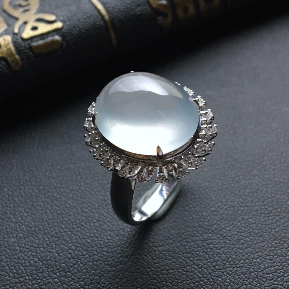 晴水冰种翡翠戒指 镶白金钻石第3张