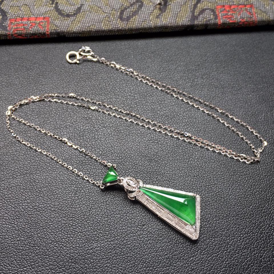 冰种深绿随形翡翠锁骨链镶白金钻石第1张