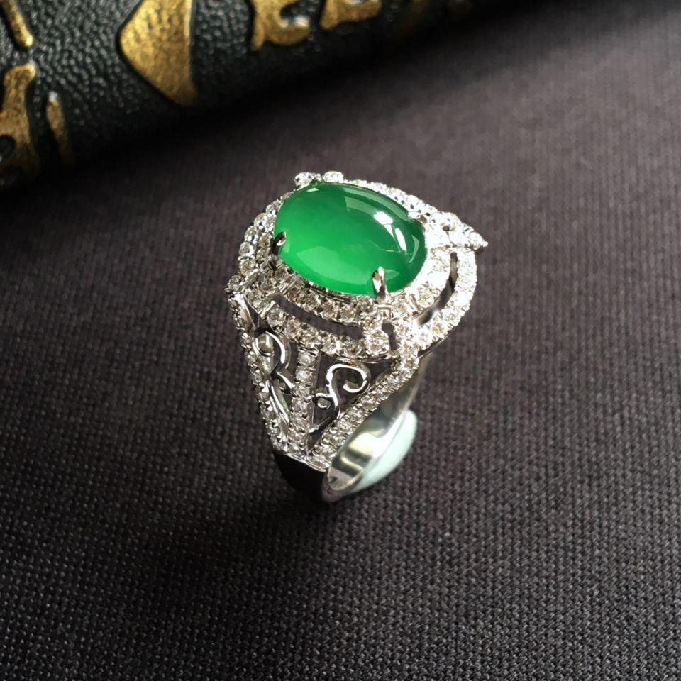 冰种绿晴水翡翠戒指