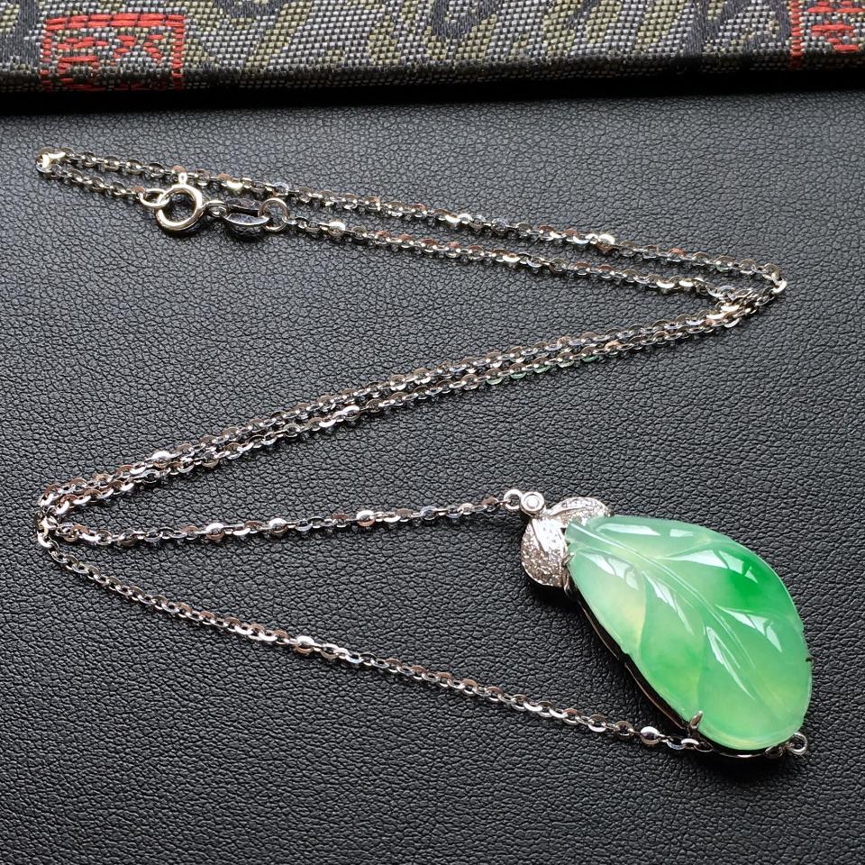 飘翠冰种玉叶翡翠锁骨项链 镶白金钻石第3张