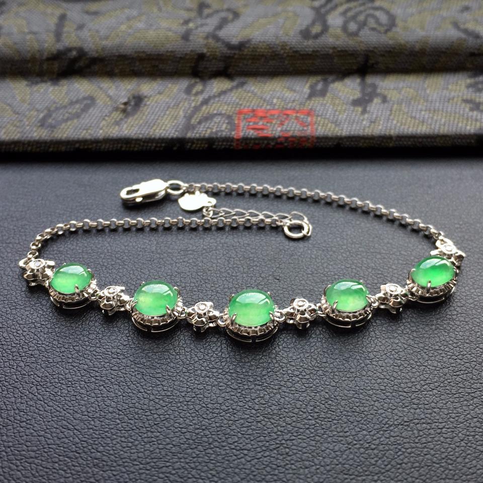 冰种绿晴水翡翠手链镶白金钻石