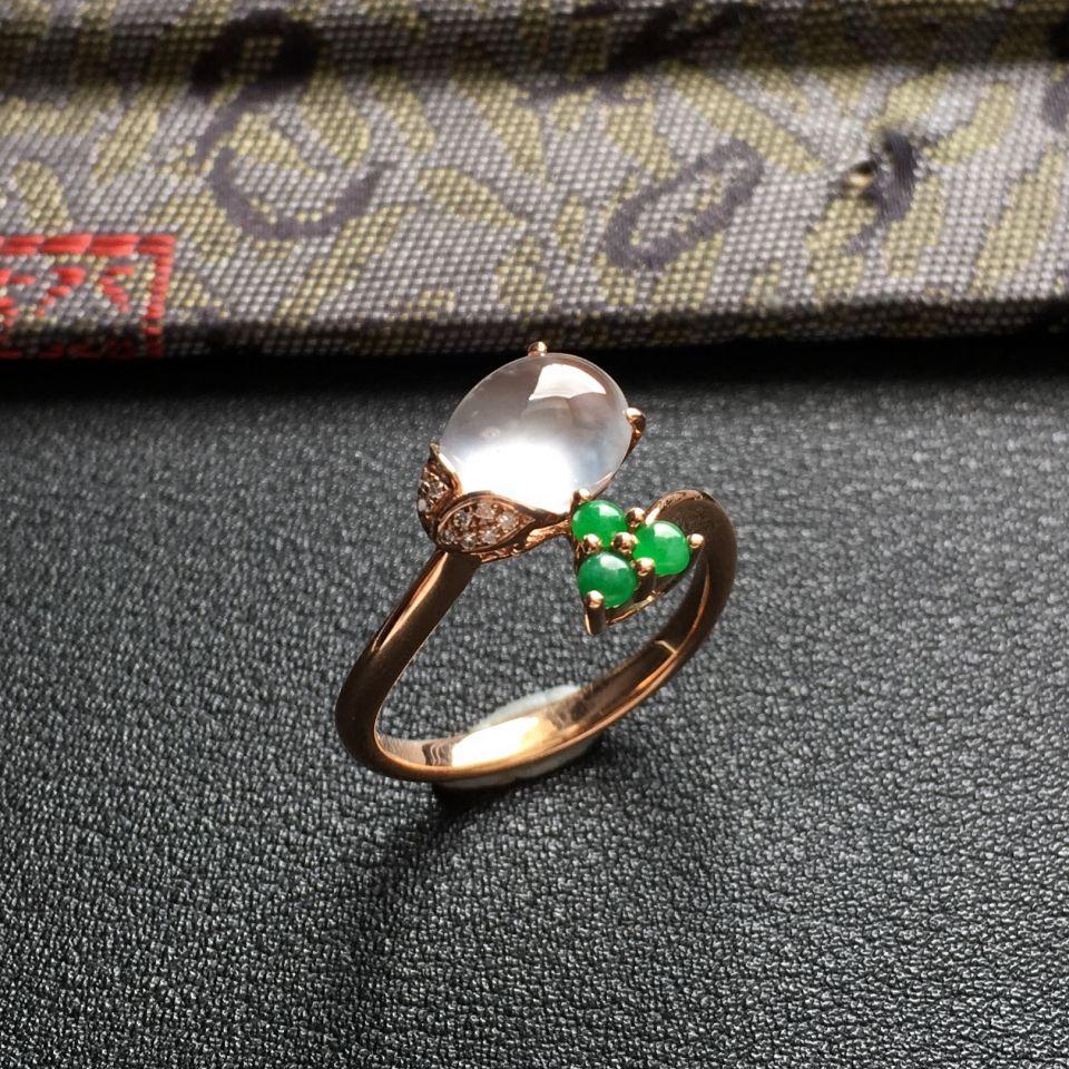 冰种无色翡翠戒指镶玫瑰金钻石