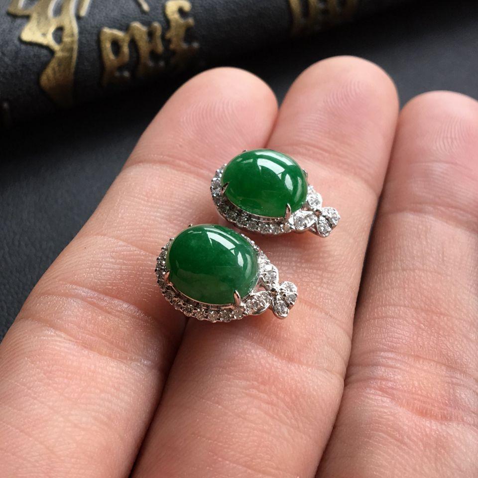 糯冰种深绿翡翠戒指/耳钉(一套) 镶白金钻石第5张