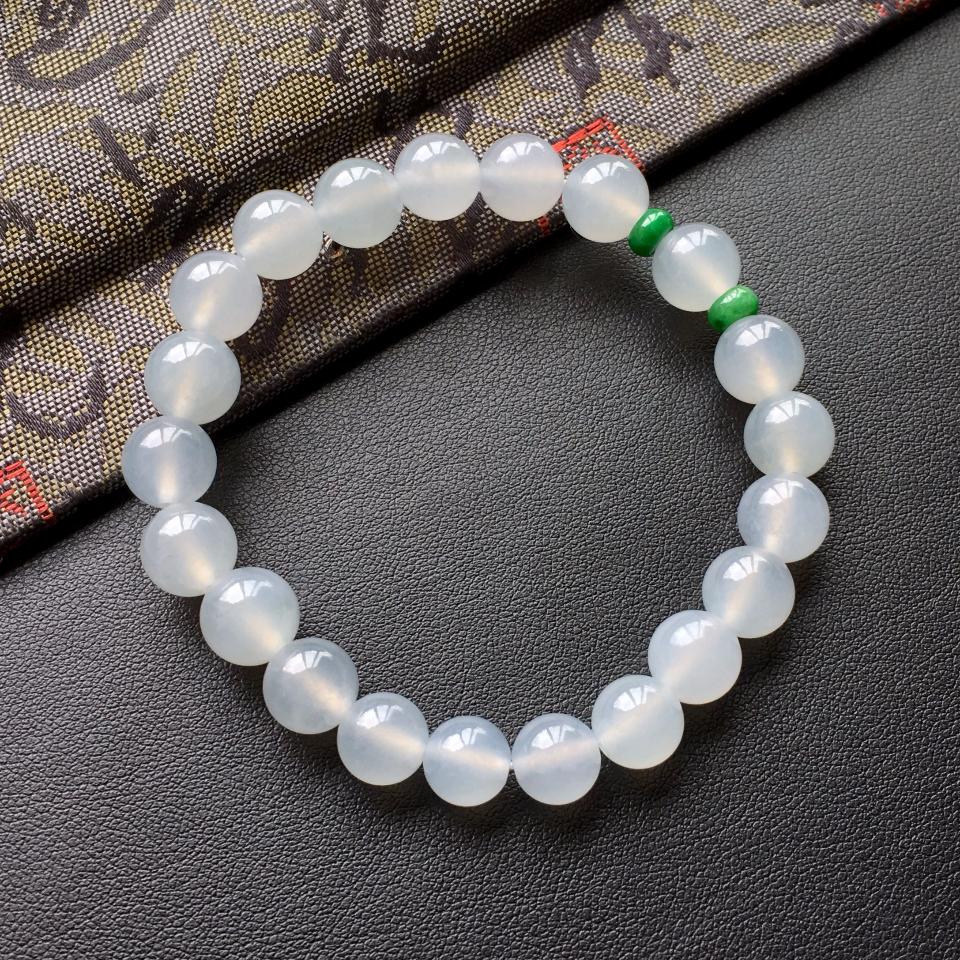 白色冰种圆珠翡翠手串