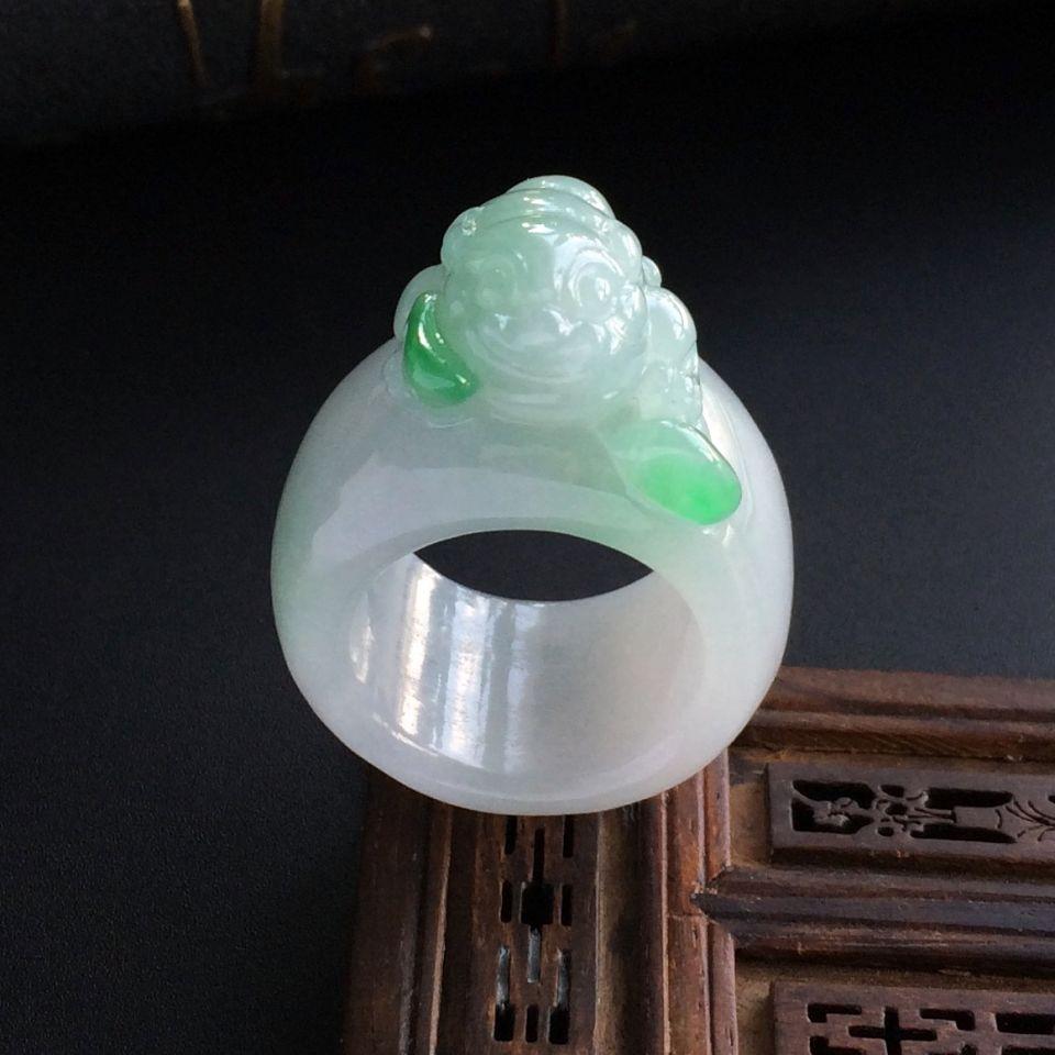 飘绿细糯种金蟾翡翠指环