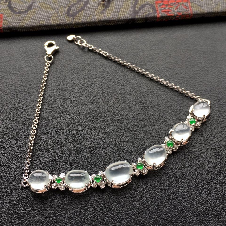 冰种白色翡翠手链镶白金钻石第2张