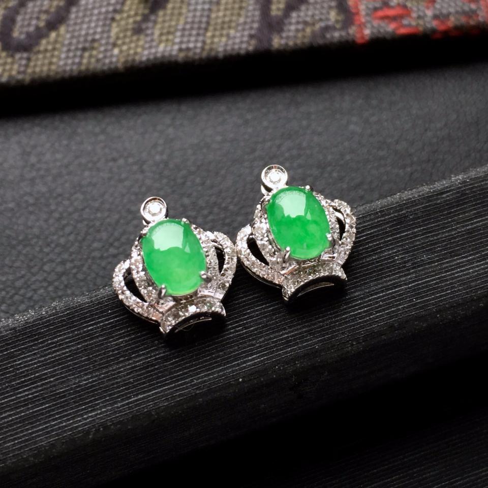 冰种翠色皇冠翡翠耳钉一对 镶白金钻石第3张