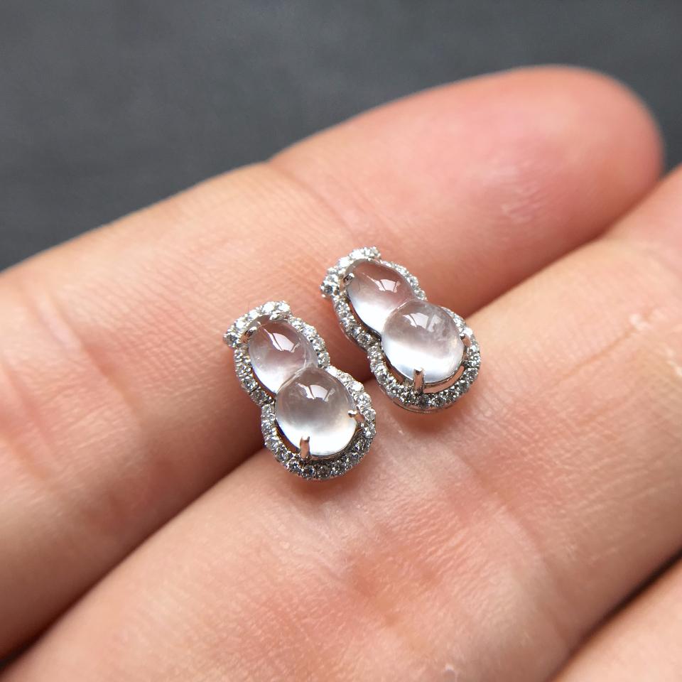 冰种起莹光无色葫芦翡翠耳钉一对 镶白金钻石第5张