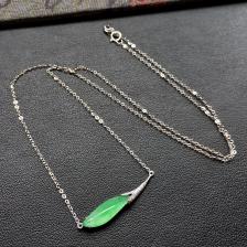 冰种飘翠玉兰花翡翠锁骨链 镶白金钻石