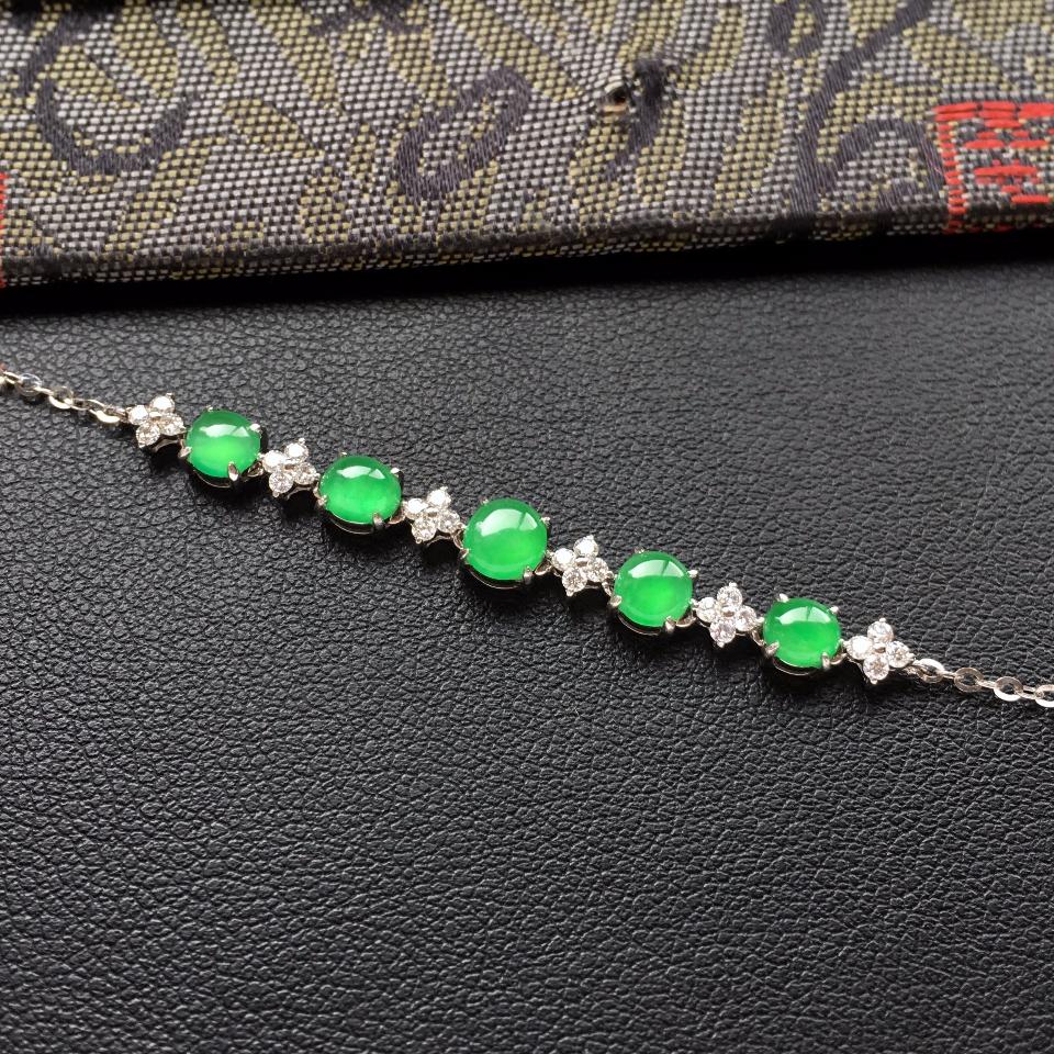冰种翠色翡翠手链镶白金钻石第5张