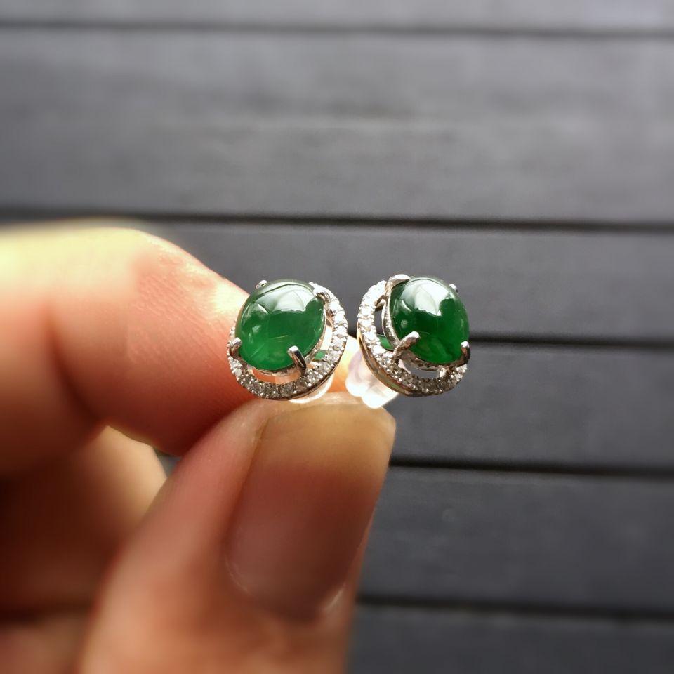 冰种蓝绿翡翠耳钉镶白金钻石第7张