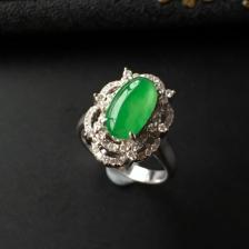 飘翠冰种翡翠镶白金钻石戒指