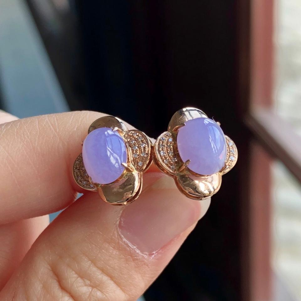 糯冰种紫罗兰翡翠耳钉 镶玫瑰金钻石第6张