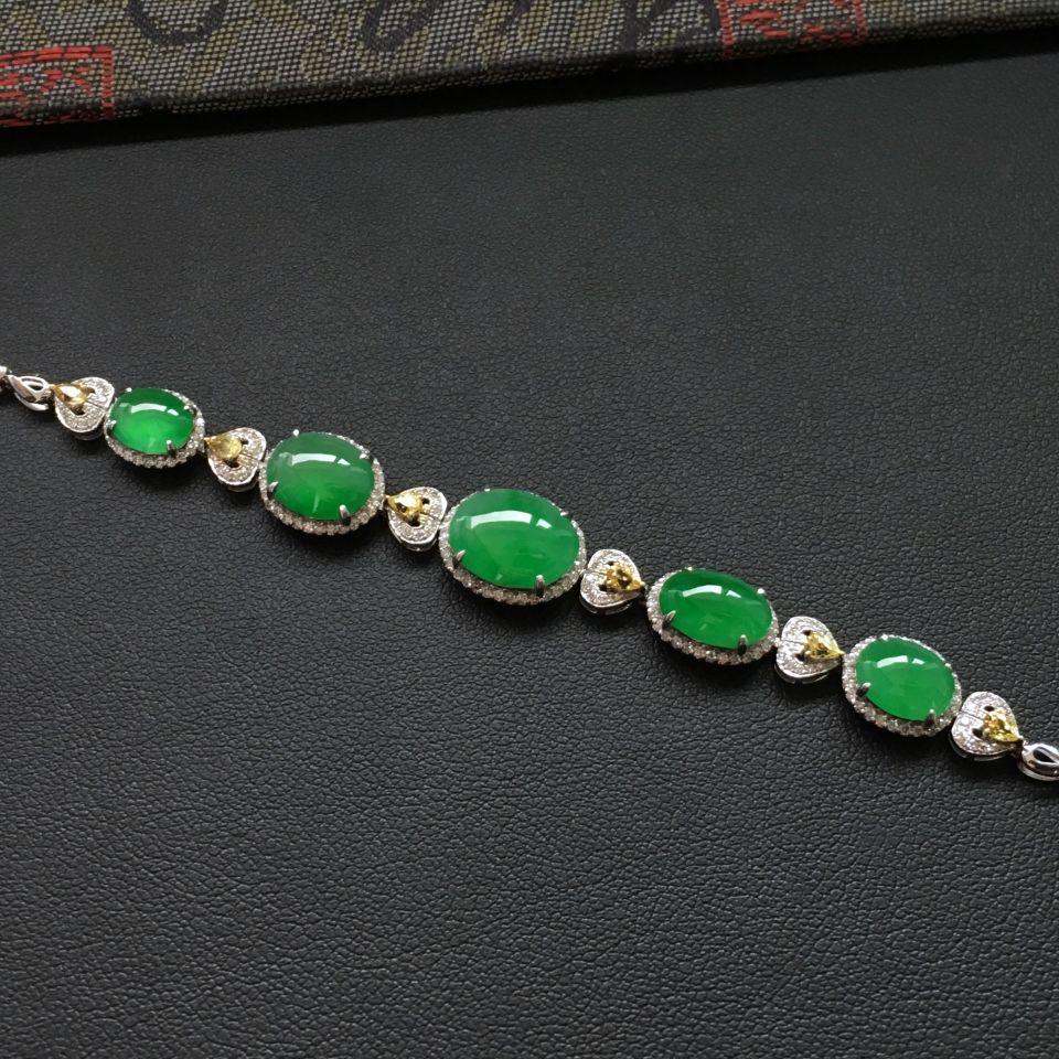 翠色冰种翡翠手链 镶白金钻石