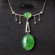 糯冰种果绿蛋面翡翠套链 镶白18K金钻石