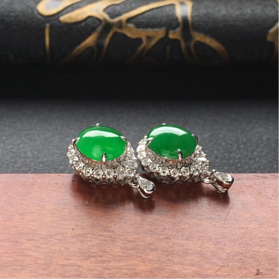 翠绿冰种翡翠耳钉一对 镶白金钻石第4张