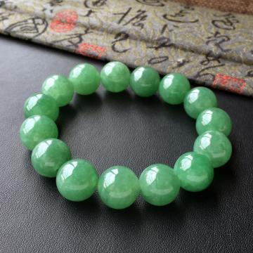 糯冰种青绿色圆珠翡翠手串