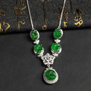 冰种浓绿翡翠项链 镶白18K金钻石彩宝