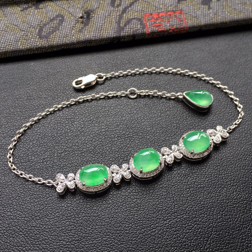 翠色冰种翡翠手链 镶白金钻石第2张