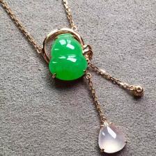 糯种阳绿葫芦翡翠项链