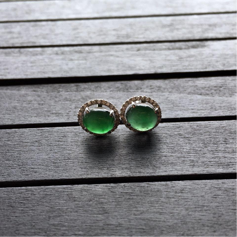 冰种蓝绿翡翠耳钉镶白金钻石第4张