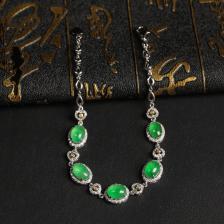冰种晴水略飘绿翡翠手链 镶白18K金钻石