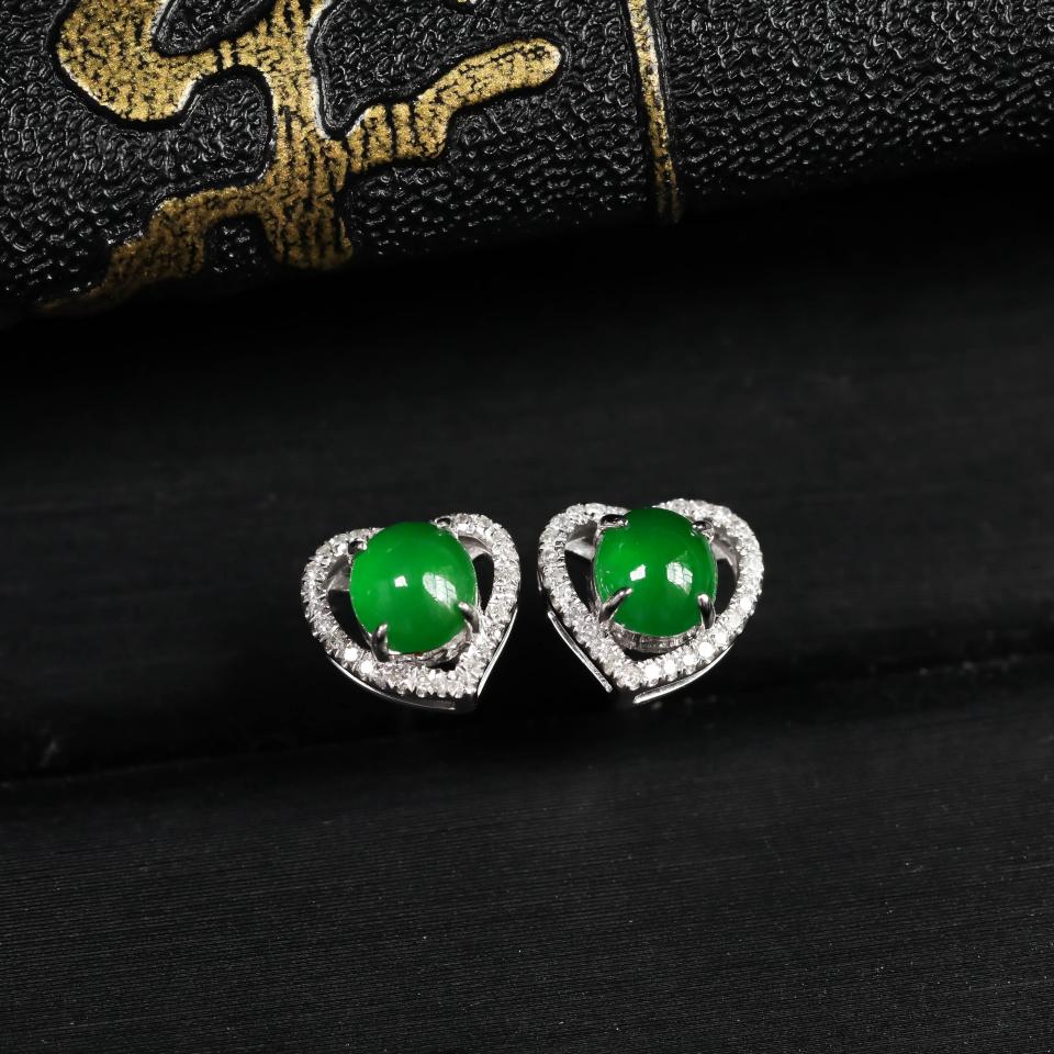 浓绿糯冰种翡翠耳钉 镶白18K金钻石第2张