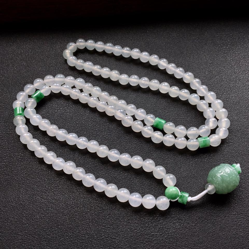 白色冰种圆珠翡翠项链/108佛珠第1张