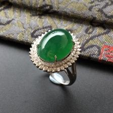 浓绿糯冰种翡翠镶白金钻石戒指