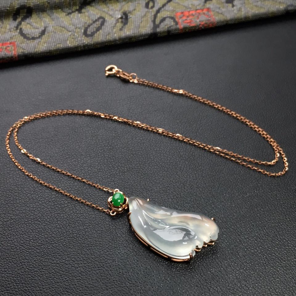 无色冰种随形翡翠锁骨链 镶玫瑰金钻石第1张