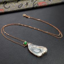 无色冰种随形翡翠锁骨链 镶玫瑰金钻石