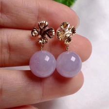 糯种紫罗兰翡翠耳钉