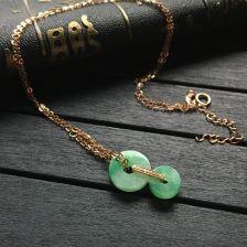糯冰种飘绿平安项链 镶玫瑰金钻石