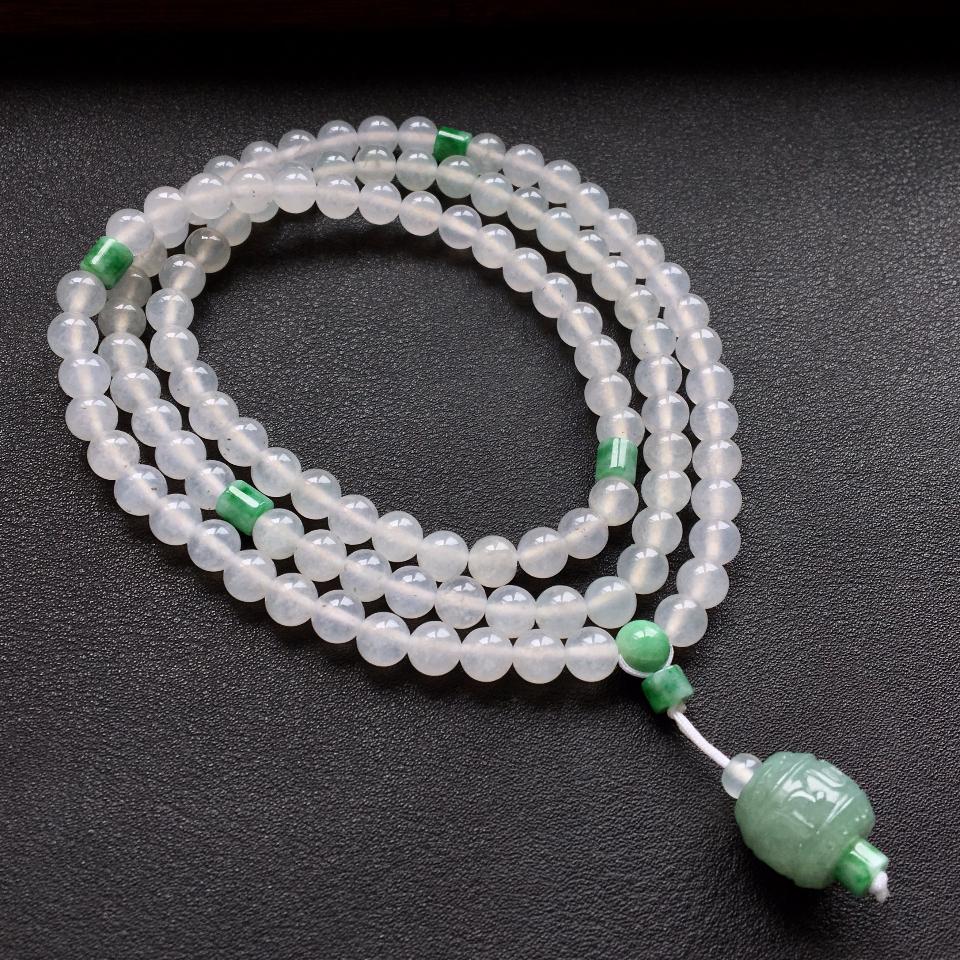 白色冰种圆珠翡翠项链/108佛珠第3张