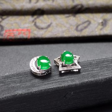 糯冰种阳绿星月翡翠耳钉一对 镶白金钻石