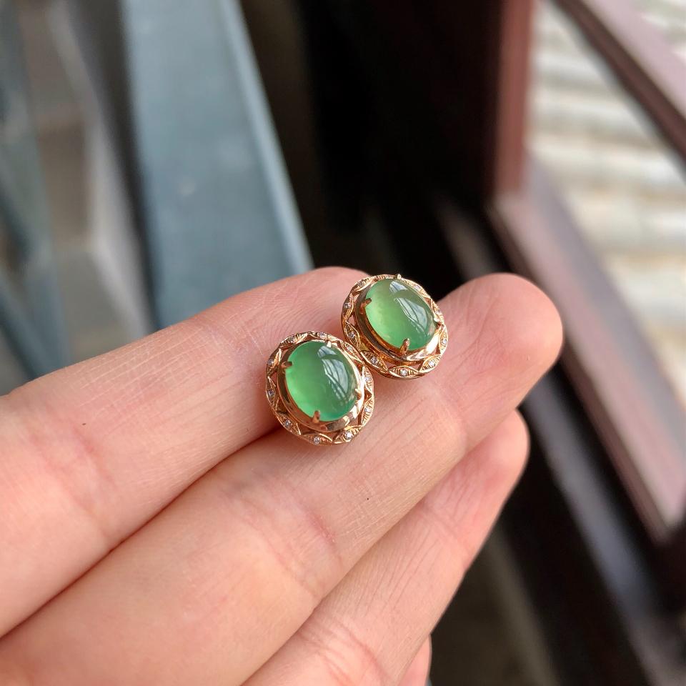 冰种绿晴水翡翠耳钉 镶玫瑰金钻石