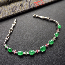 翠色冰种翡翠手链镶白金钻石/彩宝
